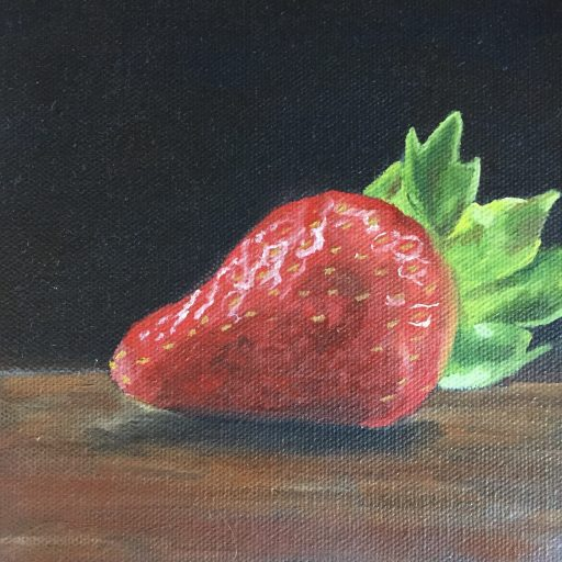 """Strawberry oil on canvas, 6x6"""" Artist's collection"""