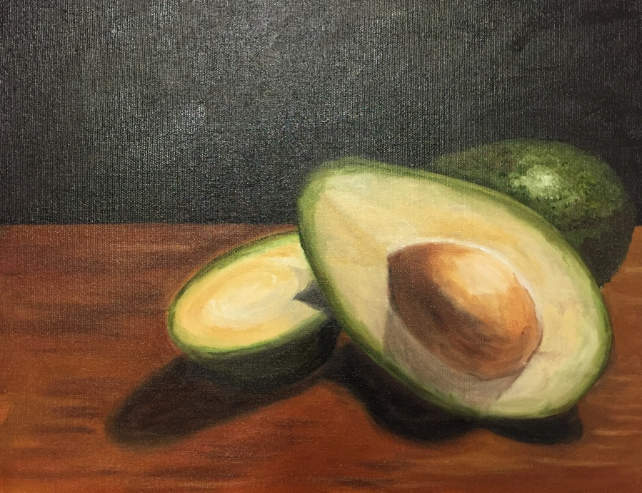 "Avocados (oil on canvas; 11x14"")"