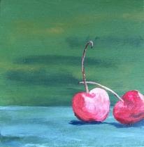 "Cherries (acrylic on panel; 6x6"")"