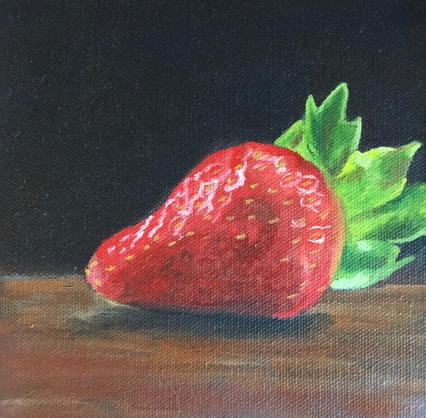 """Strawberry (oil on canvas; 6x6""""; Artist's collection)"""