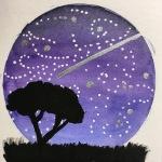 Night Sky (mixed media on paper)