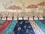 "Klimt-Inspired Landscape (acrylic on canvas board; 11x14"")"