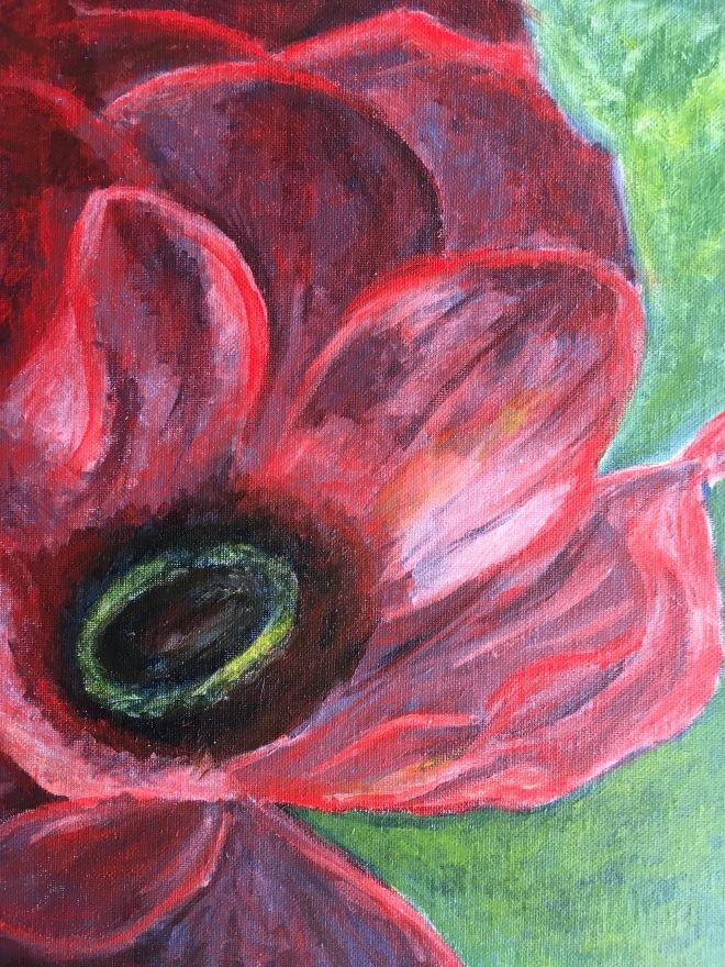 "Poppy (acrylic on canvas panel, 11 x 14"")"