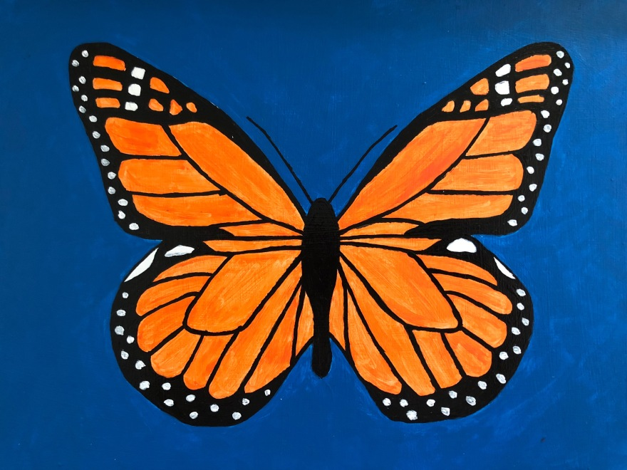 "Danaus Plexippus (acrylic on panel; 9x12"")"