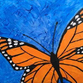 """Monarch (oil on gallery canvas; 8x8"""")"""
