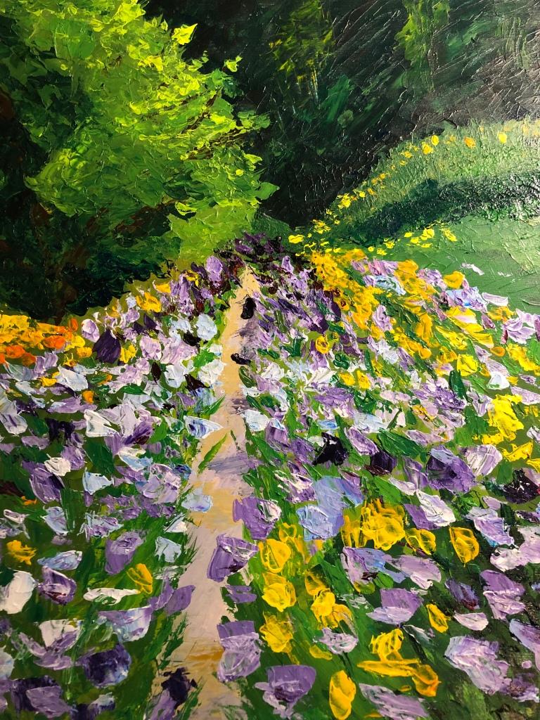 "Purple Iris Garden acrylic on panel, 11 x 14"" SOLD"
