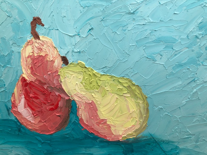 "Pear Pair (oil on panel; 6 x 8"")"